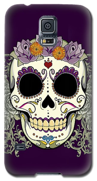 Vintage Sugar Skull And Flowers Galaxy S5 Case by Tammy Wetzel