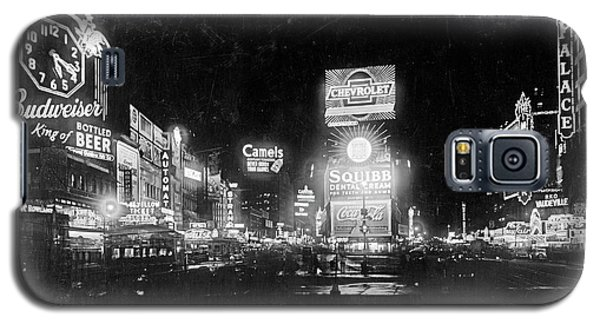 Galaxy S5 Case featuring the photograph Vintage Times Square At Night Black And White by John Stephens