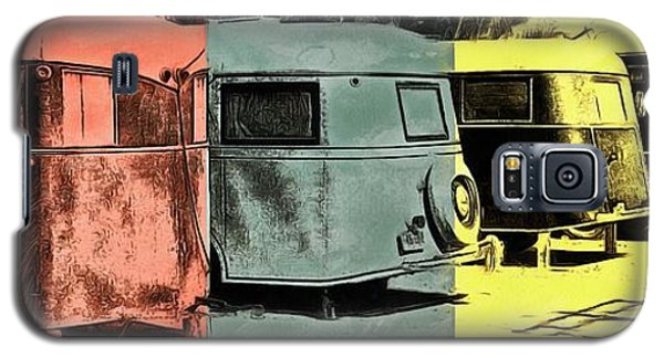 Galaxy S5 Case featuring the painting Sarasota Series Vintage Trailer Park Pop Art by Edward Fielding