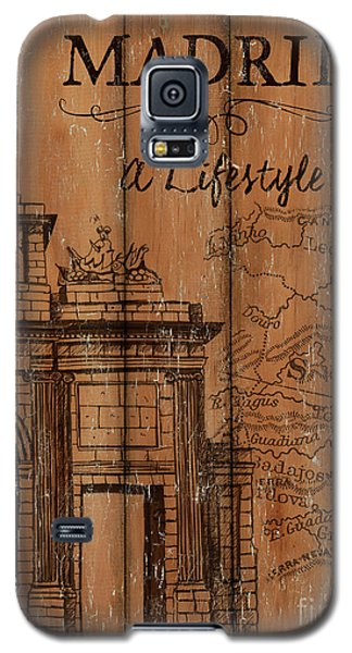 Galaxy S5 Case featuring the painting Vintage Travel Madrid by Debbie DeWitt