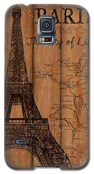 Galaxy S5 Case featuring the painting Vintage Travel Paris by Debbie DeWitt