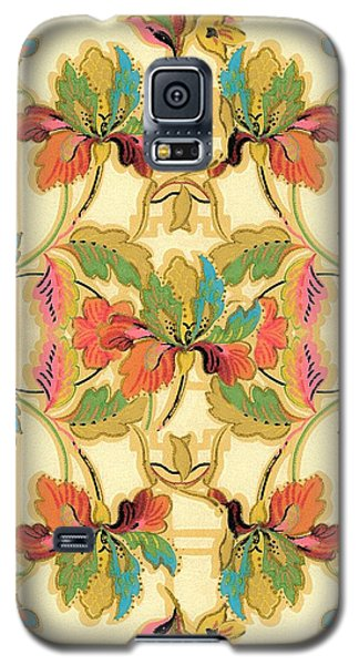Galaxy S5 Case featuring the digital art Vintage Turquoise Orange Floral Wallpaper Pattern by Tracie Kaska