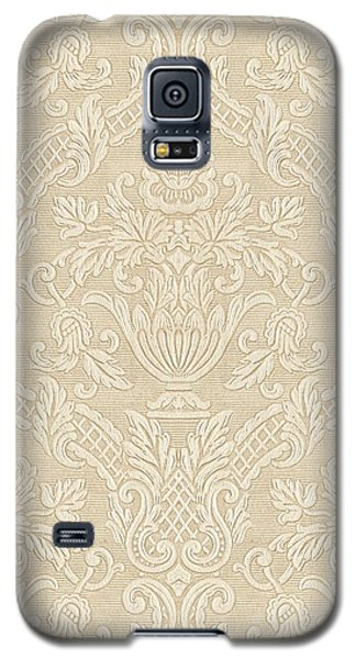 Galaxy S5 Case featuring the digital art Vintage Wallpaper Beige Floral Elegant Damask by Tracie Kaska