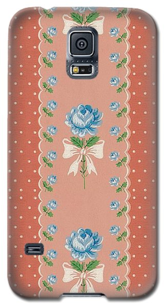 Galaxy S5 Case featuring the digital art Vintage Wallpaper Blue Roses Coral Polka Dots by Tracie Kaska