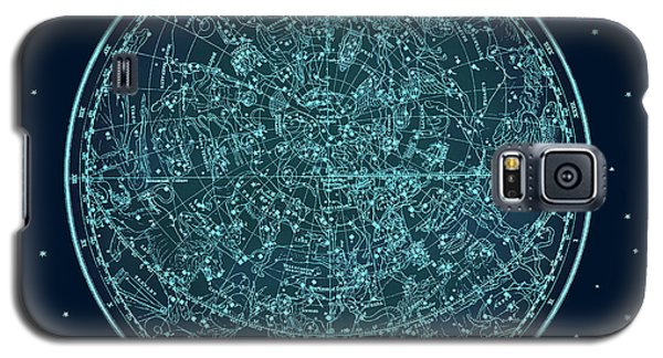 Galaxy S5 Case featuring the digital art Vintage Zodiac Map - Teal Blue by Marianna Mills