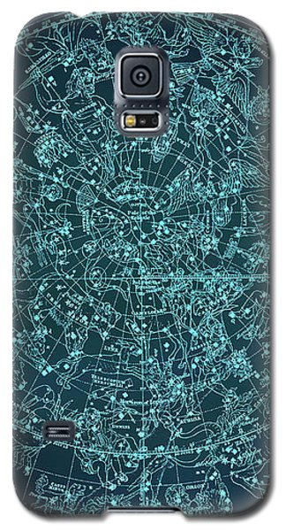Vintage Zodiac Map - Teal Blue Galaxy S5 Case