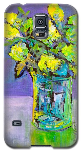 Galaxy S5 Case featuring the painting Violet And Lime by Mary Schiros