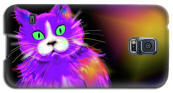 Galaxy S5 Case featuring the painting Violet Dizzycat by DC Langer