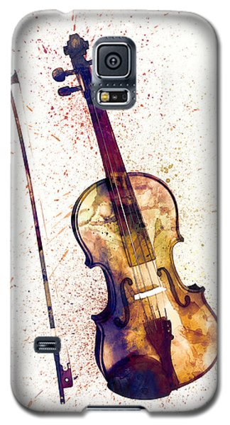 Violin Galaxy S5 Case - Violin Abstract Watercolor by Michael Tompsett