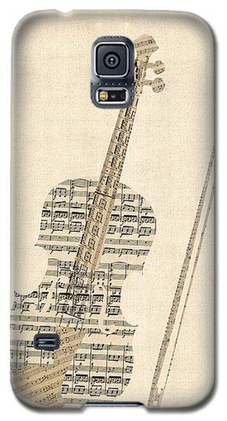 Violin Galaxy S5 Case - Violin Old Sheet Music by Michael Tompsett
