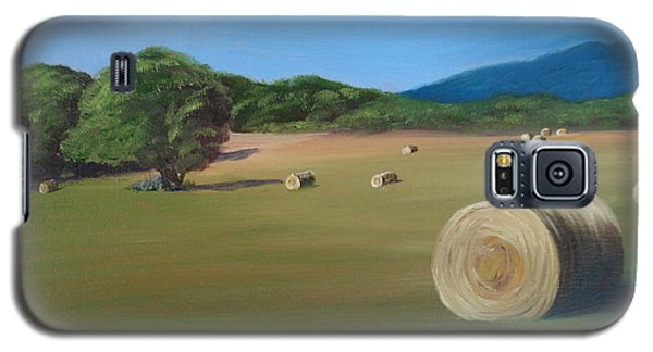 Galaxy S5 Case featuring the painting Virginia Hay Bales by Donna Tuten