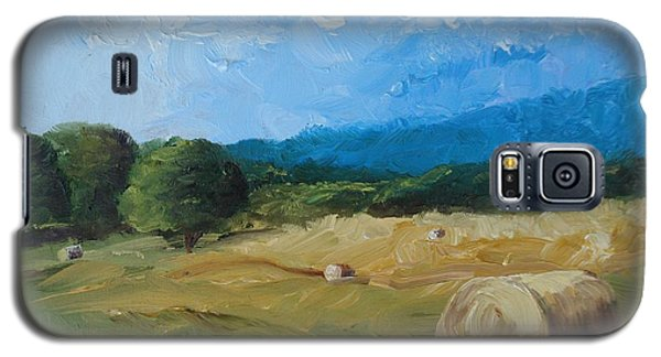 Galaxy S5 Case featuring the painting Virginia Hay Bales II by Donna Tuten