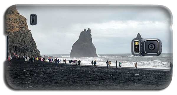 Galaxy S5 Case featuring the photograph Visitors In Reynisfjara Black Sand Beach, Iceland by Dubi Roman