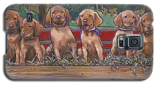Galaxy S5 Case featuring the painting Vizsla Pups by Nadi Spencer