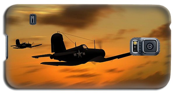 Galaxy S5 Case featuring the digital art Vought Corsairs At Sunset by John Wills