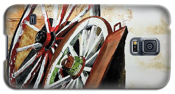 Galaxy S5 Case featuring the painting Wagon Wheels Of Zion by Tom Riggs