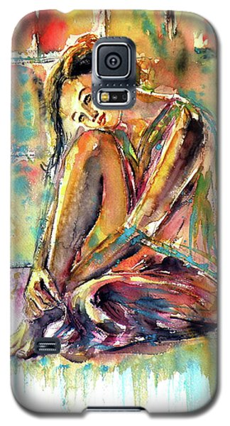 Galaxy S5 Case featuring the painting Waiting For You by Kovacs Anna Brigitta