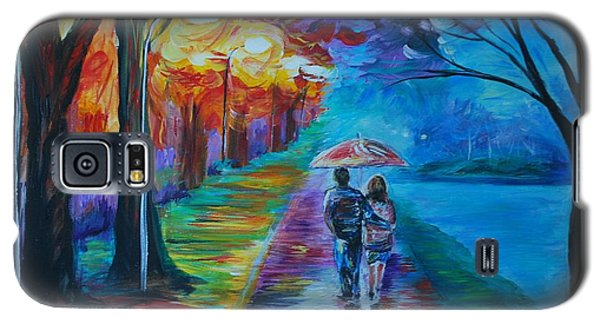 Galaxy S5 Case featuring the painting Walk By The Lake  by Leslie Allen