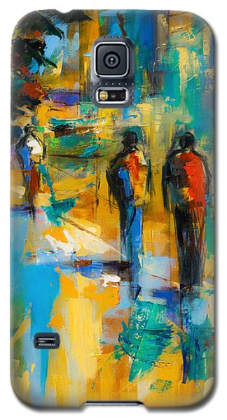 Galaxy S5 Case featuring the painting Walk In The City by Elise Palmigiani
