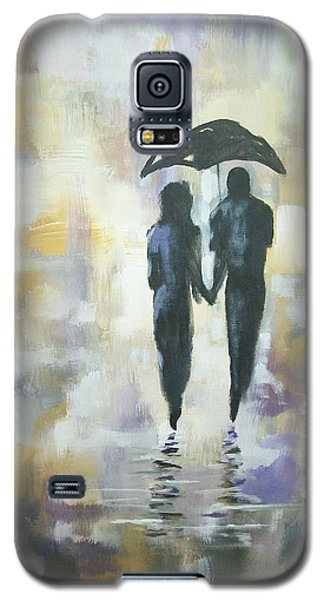 Galaxy S5 Case featuring the painting Walk In The Rain #3 by Raymond Doward
