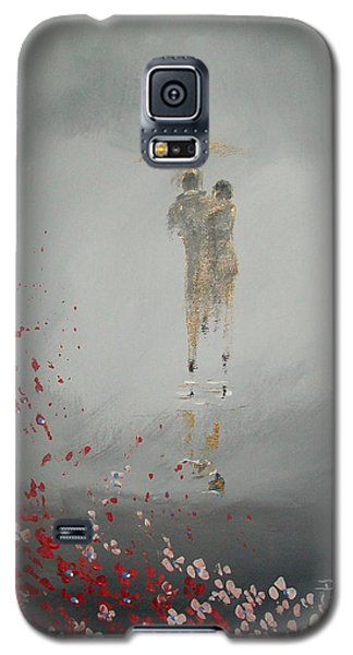 Galaxy S5 Case featuring the painting Walk In The Storm by Raymond Doward
