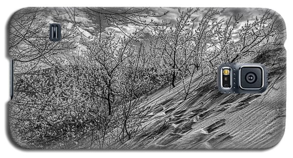 Galaxy S5 Case featuring the photograph Walk The Dunes Black And White  by John McGraw