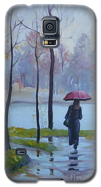 Galaxy S5 Case featuring the painting Walking In The Rain by Elena Oleniuc