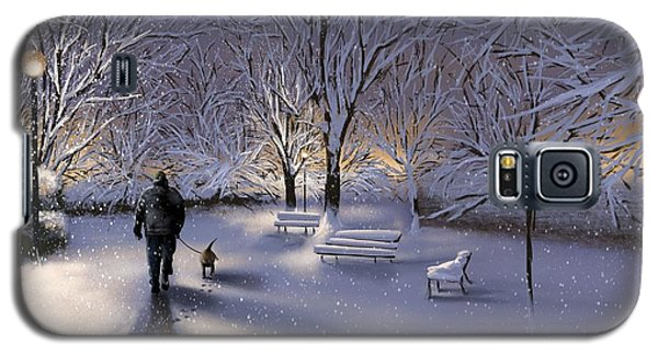 Galaxy S5 Case featuring the painting Walking In The Snow by Veronica Minozzi