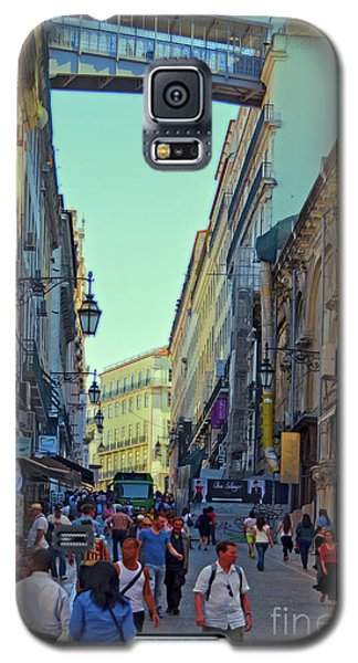 Galaxy S5 Case featuring the photograph Walkway Over The Street - Lisbon by Mary Machare