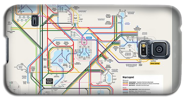Walt Disney World Resort Transportation Map Galaxy S5 Case by Arthur De Wolf