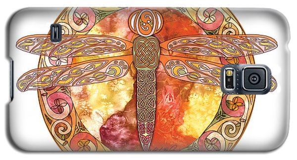 Galaxy S5 Case featuring the mixed media Warm Celtic Dragonfly by Kristen Fox