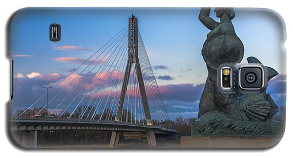 Warsaw Mermaid And Swiatokrzyski Bridge On Vistula Galaxy S5 Case