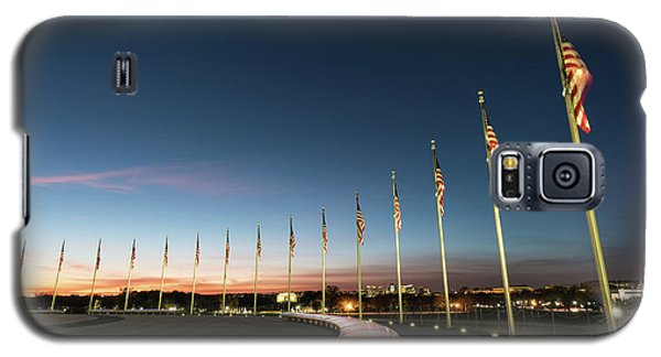 Lincoln Memorial Galaxy S5 Case - Washington Monument Flags by Larry Marshall