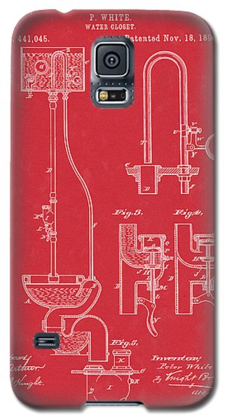 Water Closet Patent Art Red Galaxy S5 Case