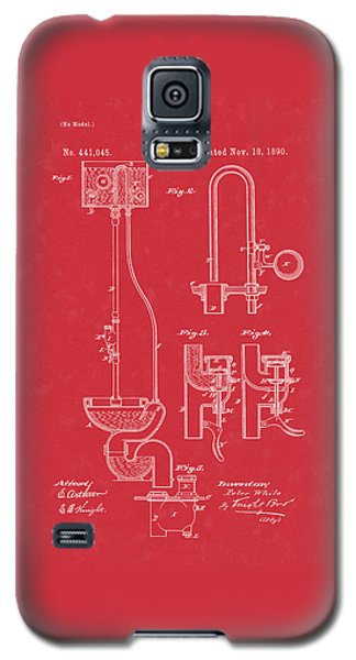 Water Closet Patent Art Red Galaxy S5 Case