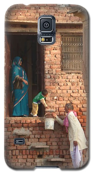 Galaxy S5 Case featuring the photograph Water Delivery In Vrindavan by Jean luc Comperat
