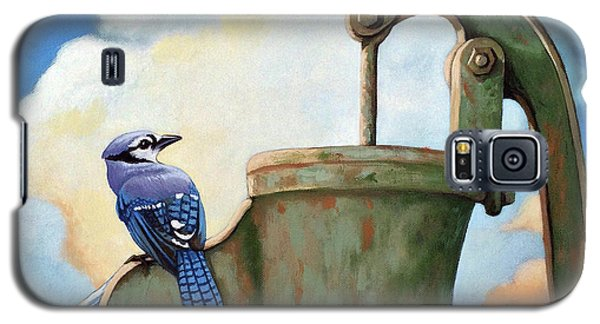 Galaxy S5 Case featuring the painting Water Is Life #3 -blue Jays On Water Pump Painting by Linda Apple