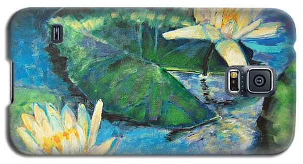 Galaxy S5 Case featuring the painting Water Lilies by Ana Maria Edulescu