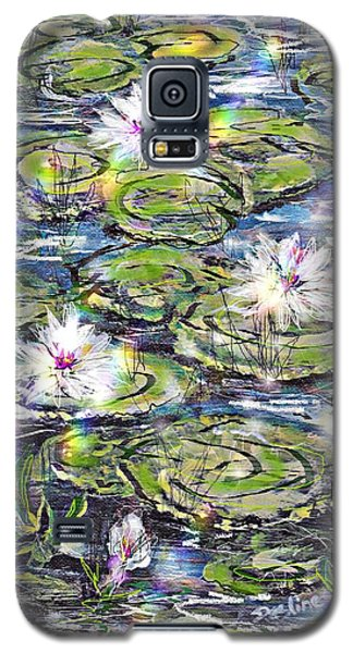 Galaxy S5 Case featuring the painting Water Lilies And Rainbows by Desline Vitto