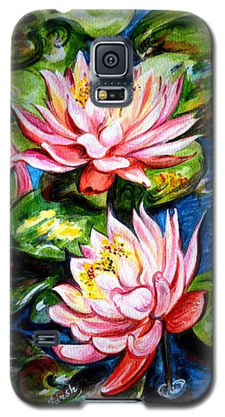 Galaxy S5 Case featuring the painting Water Lilies  by Harsh Malik