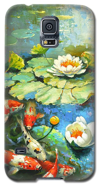 Galaxy S5 Case featuring the painting Water Lily Or Solar Pond      by Dmitry Spiros