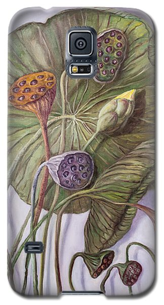 Water Lily Seed Pods Framed By A Leaf Galaxy S5 Case