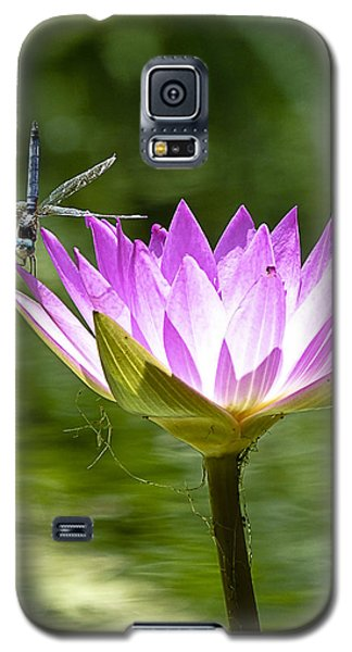 Galaxy S5 Case featuring the photograph Water Lily With Dragon Fly by Bill Barber