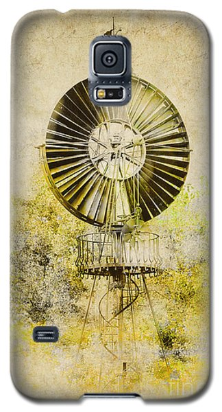 Galaxy S5 Case featuring the photograph Water-pumping Windmill by Heiko Koehrer-Wagner