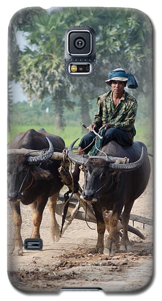 Waterbuffalo Driver Returns With His Animals At Day's End Galaxy S5 Case