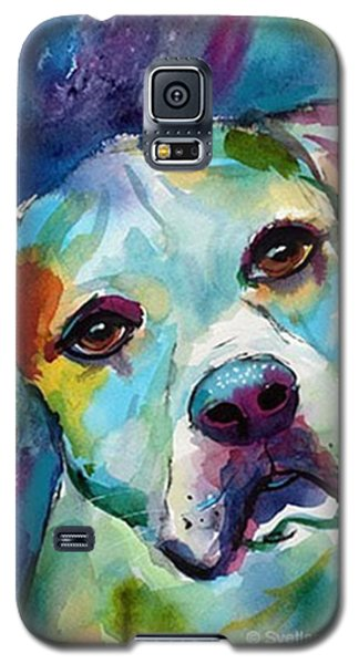 Colorful Galaxy S5 Case - Watercolor American Bulldog Painting By by Svetlana Novikova