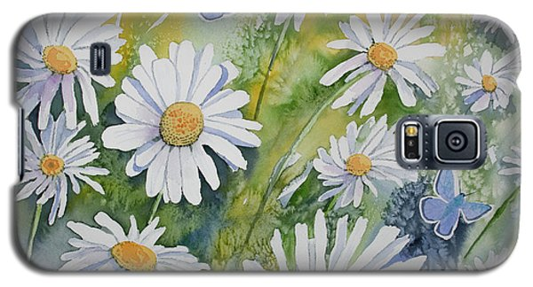 Watercolor - Daisies And Common Blue Butterflies Galaxy S5 Case