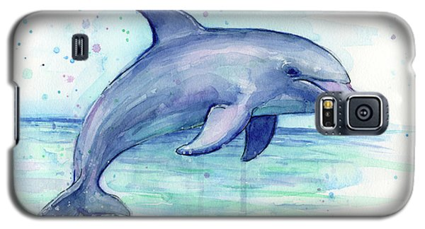 Watercolor Dolphin Painting - Facing Right Galaxy S5 Case
