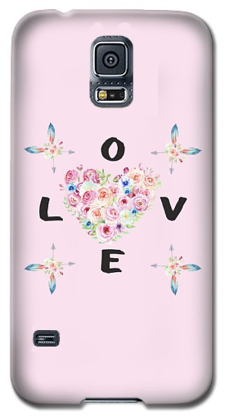 Galaxy S5 Case featuring the painting Watercolor Flowers Arrows Love Typography by Georgeta Blanaru