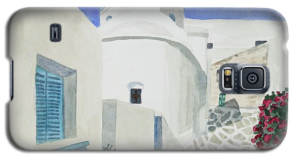 Watercolor - Paros Church And Street Scene Galaxy S5 Case